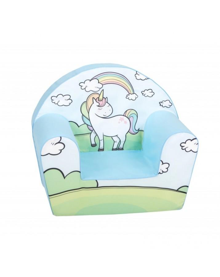 """Žydros spalvos foteliukas - """"Laimingas ponis"""""""
