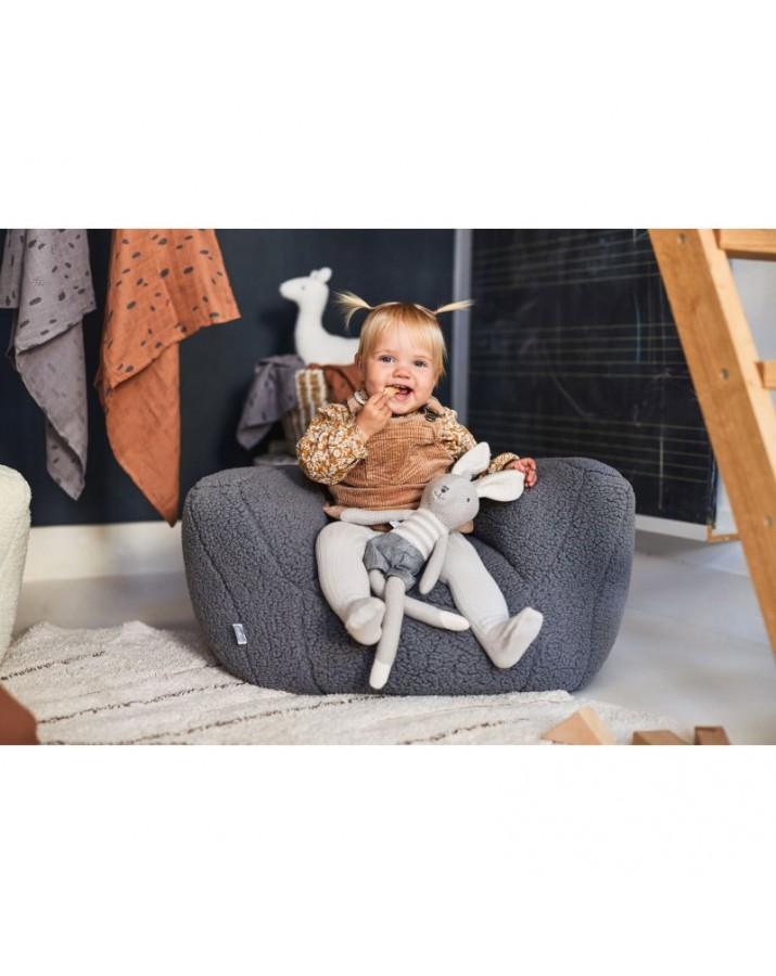 Vaikiškas pilkas foteliukas Teddy