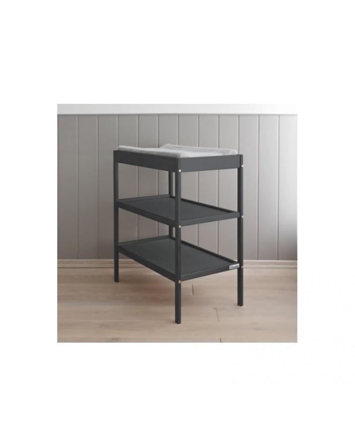 Tamsus vystymo stalas su lentynomis
