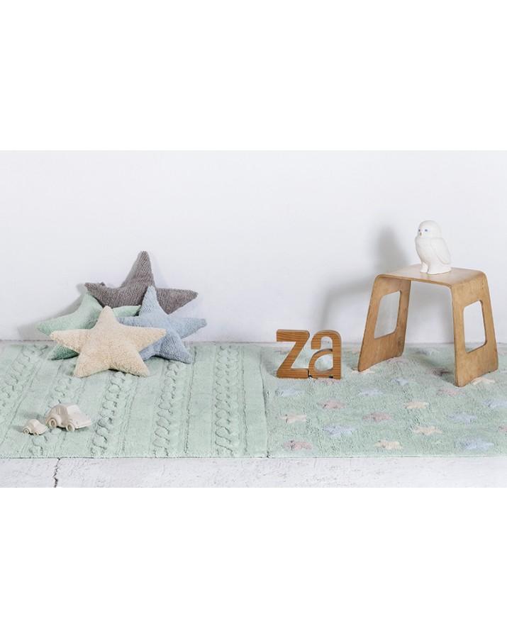 Žalsvas skalbiamas kilimas su spalvotomis žvaigždutėmis