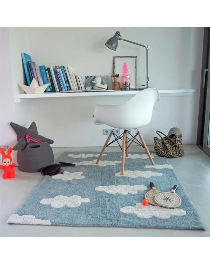 Melsvos spalvos skalbiamas kilimas Debesėlis