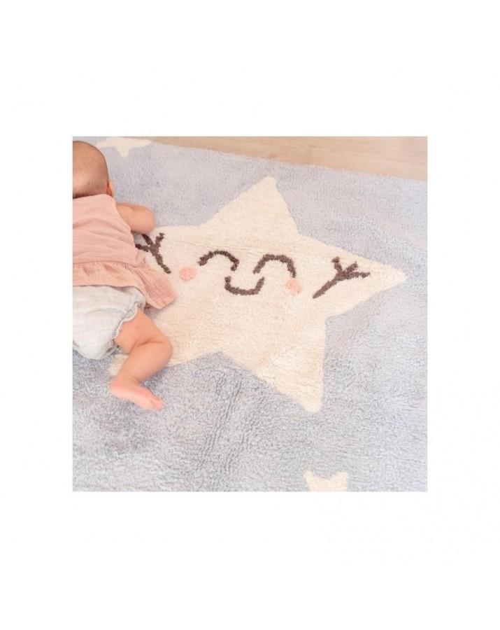 Melsvas skalbiamas kilimas su žvaigždelėmis