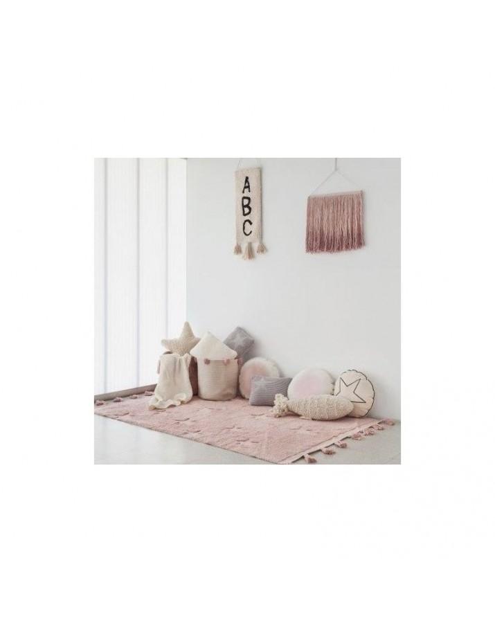 Rožinis skalbiamas kilimas Hippy Stars