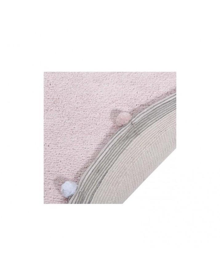 Rožinis apvalus skalbiamas kilimas Burbulas