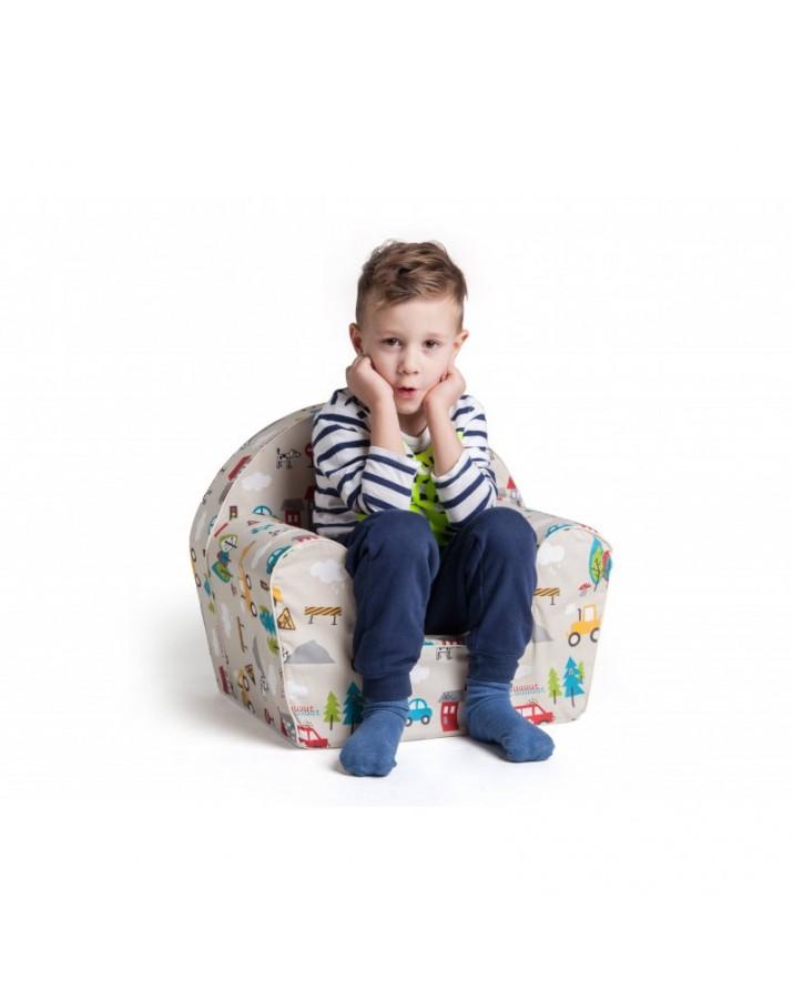 Rožinis vaikiškas foteliu..